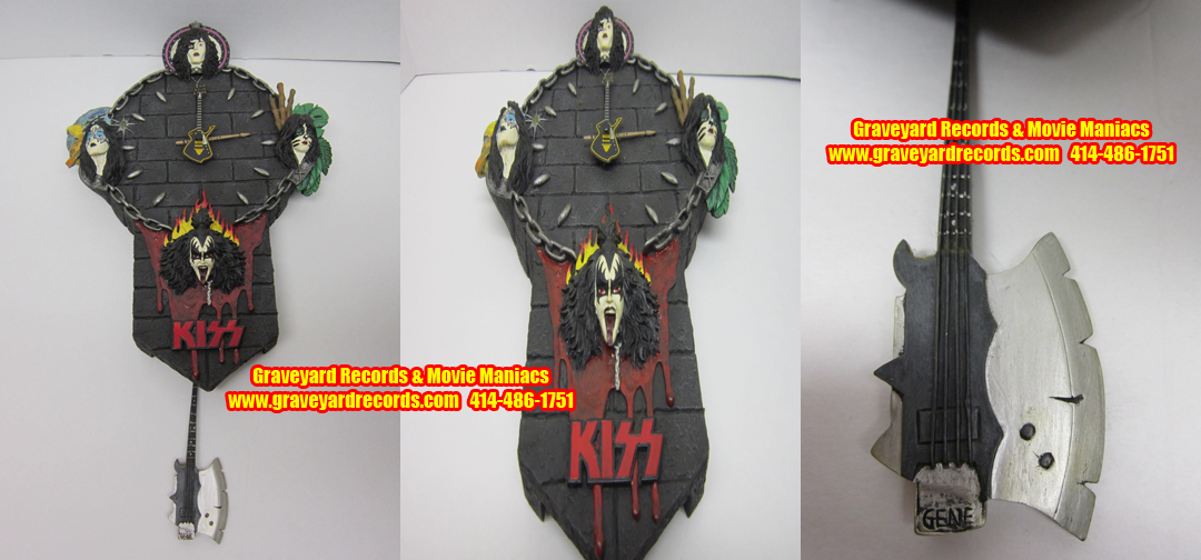 KISS Gene Simmons Axe Bass Swinging Pendulum Clock